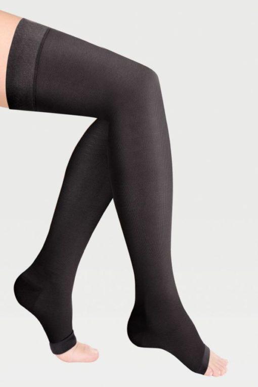 Чулки с простой резинкой на силиконовой основе с открытым носком на широкое бедро IDEALISTA ID-310W